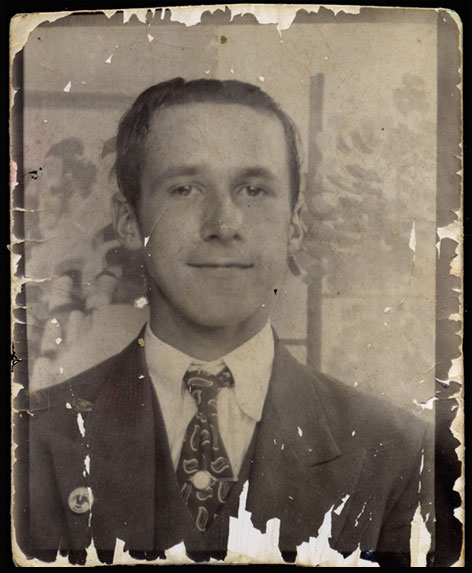 A 1940's instant print from a country fair photo booth has seen better days
