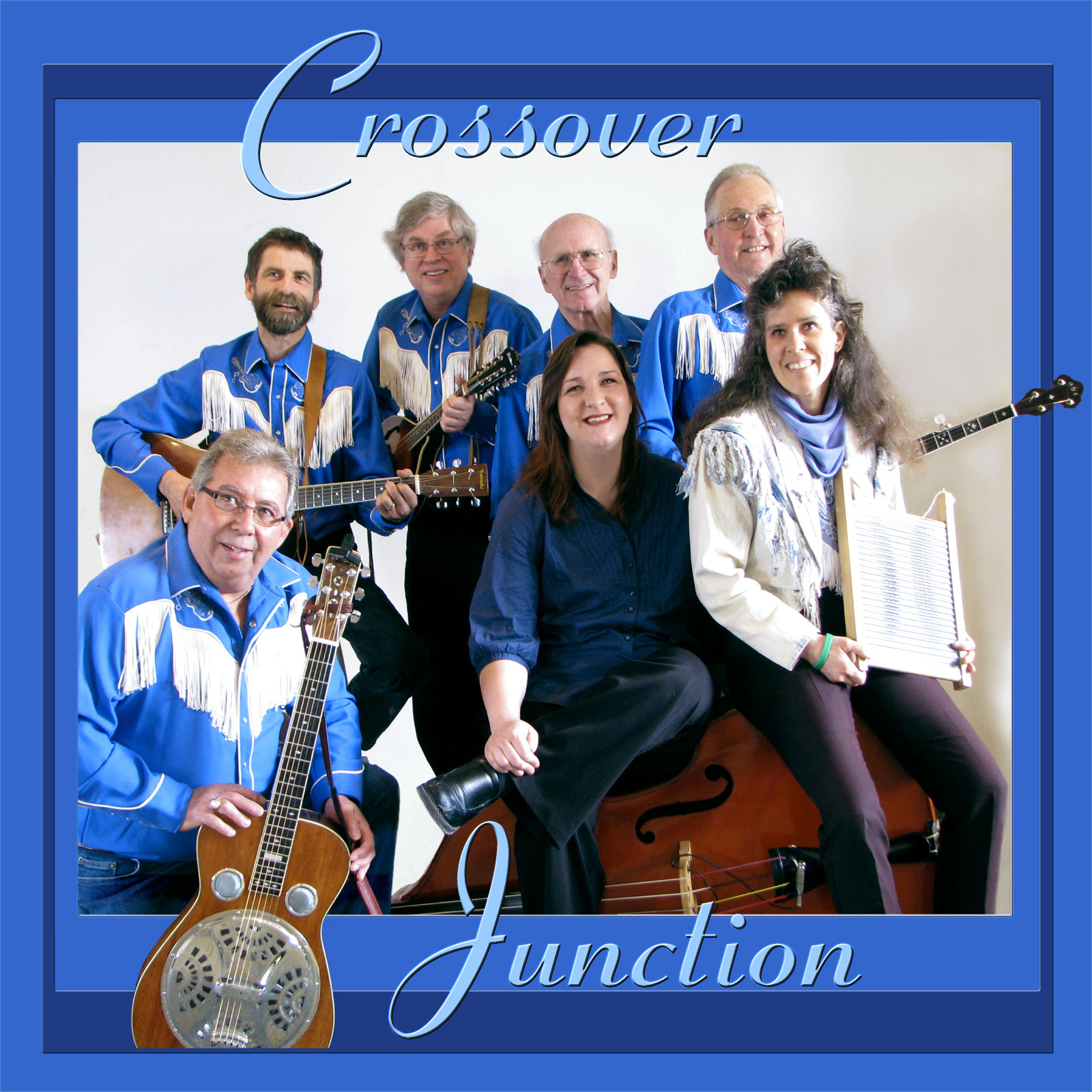 This is graphically bordered photograph of the band simply titled CROSSOVER JUNCTION