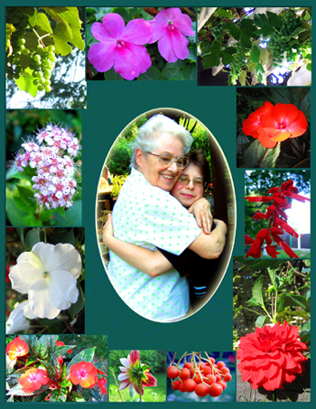A collage of flowers forms a matte for a picture of a grandmother hugging her grandson.