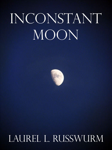 Striking image of a nearly full moon is the background image for this cover design.