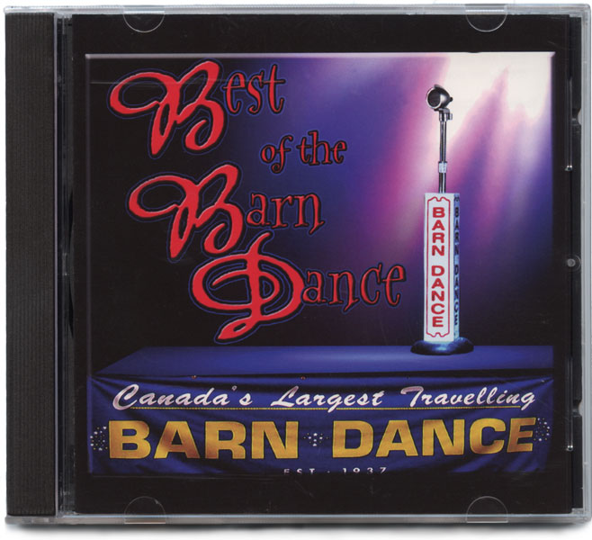 A single microphone dressed in a BARN DANCE housing stands spotlit on a digitally constructed stage, the front of which is draped with the with a CANADA'S LARGEST TRAVELLING BARN DANCE banner.
