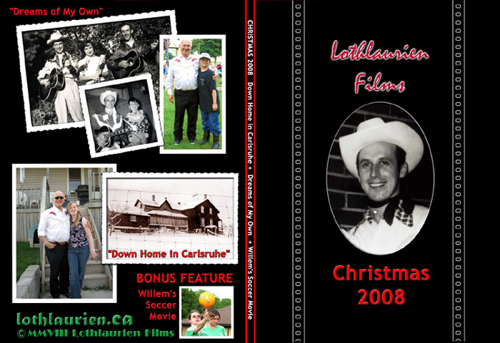 the front cover panel is titled CHRISTMAS 2008 with the back cover displaying a selection of crimped photo matted images exerpted from the home movie.