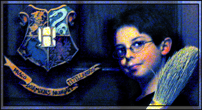 "Digital Art in A Picture-In-Picture Digital Matte: A Boy with a Nimbus 2000 stands beside a Hogwarts Door Crest captioned ""Draco Dormiens Nunqam Titillandus"""