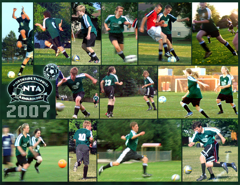 Three rows of soccer action shots make up this Digital Art Collage