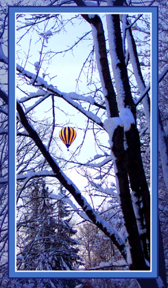 Digital Matte to Order Picture-in-Picture mixed with Solid Borders for this winter hot air balloon flight.