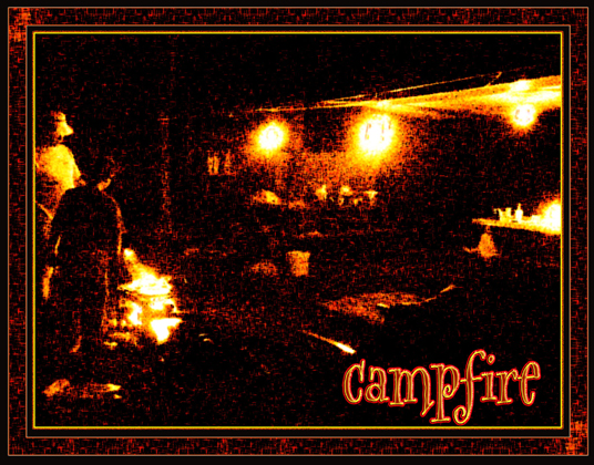 Digital Matte to Order specially created image generated border from this campfire scene.