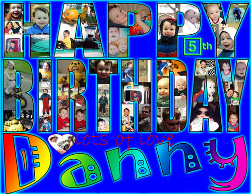 "A 40 photo collage is matted within the letters spelling  	""Happy Birthday"""