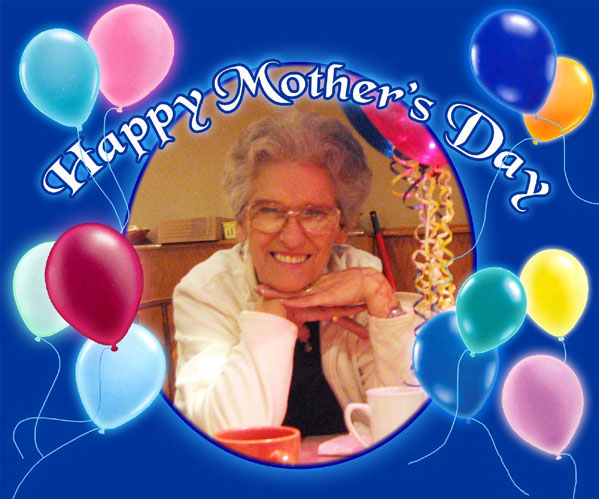 Mother's Photograph in an Oval Matte decorated with balloons