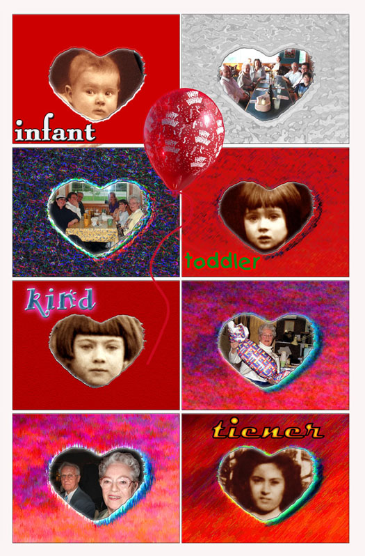 "Life Stages Eight Photo Heart Matte — ""INFANT⁄baby TODDLER⁄toddler KIND⁄child TIENER⁄teenager"""