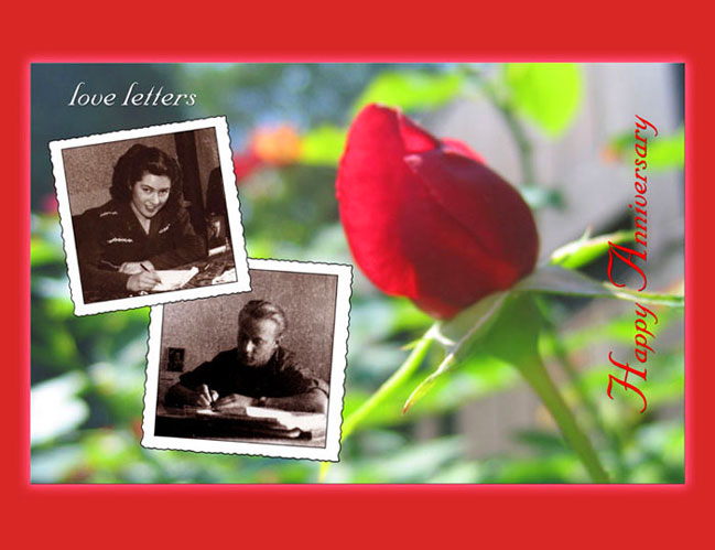 A rosebud is the background for sepia tone photos of  	her writing a love letter to him, and him writing a love letter to her