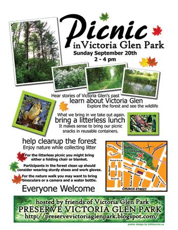 Preserve Victoria Glen picnic poster