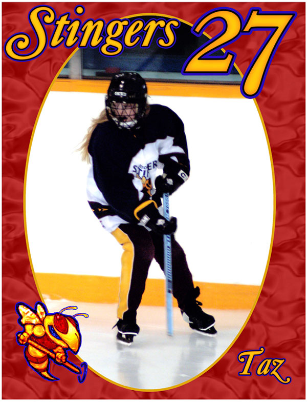 Full shot of ringette player, red oval matte, logo & number and nick-name