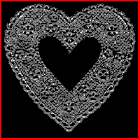 An etched black glass heart.