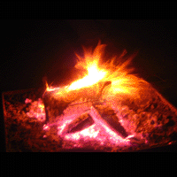 A high contrast filtered conflagration in a firepit.